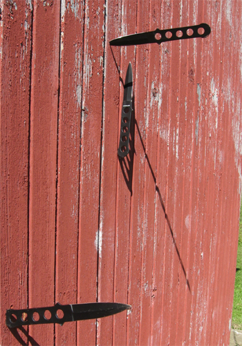 Throwing knives embedded into a plank