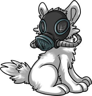 As cute as this is, it'd be nearly impossible for a Luperci to 1) find a gas mask intended for canines in usable condition, 2) know what it's used for.